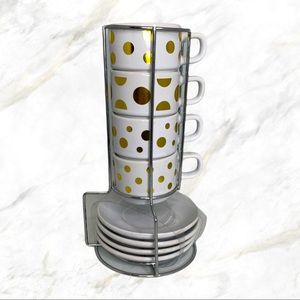 Golden Polka Dotted White Espresso Cups (Set of 4)